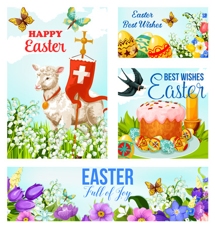 Happy Easter greeting cards and banners with paschal eggs and lamb with crucifix cross flag. Vector poster of Easter season flowers, swallow birds and butterflies for Christian religious holiday