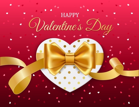 Valentines Day romantic love holiday vector greeting card design. Heart, decorated by golden ribbons, bow and dot pattern with greeting wishes in center Illustration