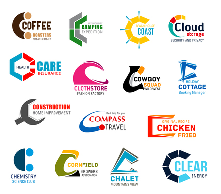 Corporate identity letter C business icons. Drinks and recreation, travel and technology, health, fashion and western, construction, food and science, farming and ecology. Vector emblems and symbols