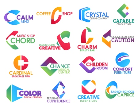 Corporate identity letter C business icons. Vector medicine and drink, consulting and music, design and beauty, banking, brokerage and entertainment, furniture. Technology and education, fashion signs Illustration