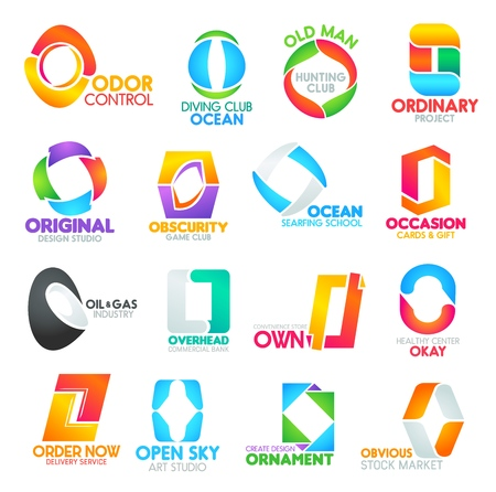 O letter corporate identity icons and signs. Commercial studios, banks, odor control, diving ocean, old hunting club. Ordinary project, original obscurity, ocean occasion, oil and own ornament design Illustration