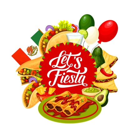 Mexican fiesta party food and drink vector design of Cinco de Mayo holiday greeting card. Flag of Mexico, tacos and burritos with avocado guacamole and chilli tomato sauce, tequila margarita, balloons Vector Illustration