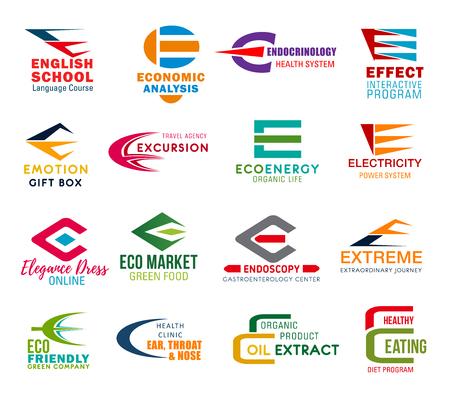 Iconos de negocios de la letra E de identidad corporativa. Educación y economía de vectores, medicina, terapia interactiva y, viajes. Ecología y electricidad, moda, compras y deporte, medio ambiente y salud, alimentación