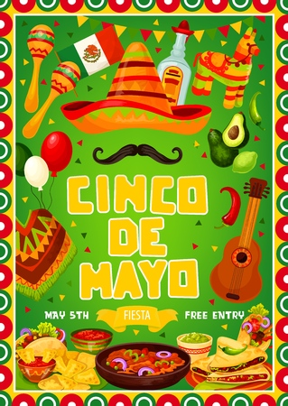 Mexican Cinco de Mayo or 5th May traditional Mexico holiday party celebration. Vector Mexican flag frame, fiesta pinata, quesadilla and nachos food, avocado and Cinco de Mayo sombrero on mustache
