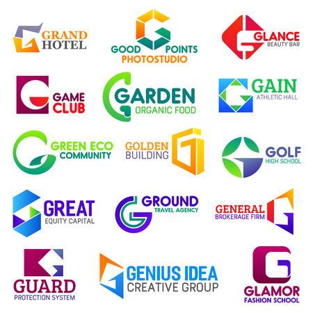 Corporate identity letter G business icons. Vector recreation and photostudio, beauty and gaming, food and sport, ecology and building. Finance and travel, brokerage and safety, fashion education