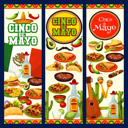 Cinco de Mayo holiday and Mexico traditional fiesta celebration food. Vector Cinco de Mayo party burrito , tacos, tequila and nachos with guacamole or chili pepper salsa, cactus tequila and quesadilla Illustration