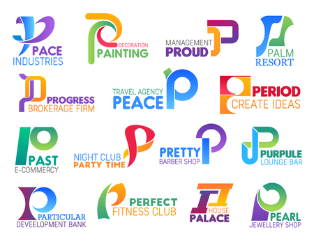 Corporate identity letter P business icons. Vector industry and art, management, recreation and brokerage, travel, entertainment and barbershop. Development and sport, jewelry shop signs and symbols