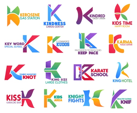 Corporate identity letter K business icons. Vector gas and medicine, finance and entertainment, education, ecommerce and technology. Sport and travel, fashion and recreation, food signs or symbols Illustration