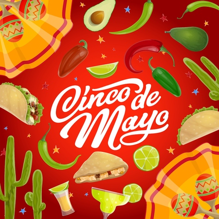 Cinco de Mayo Mexican holiday vector greeting card with mariachi maracas and fiesta party food. Tequila margarita, chilli peppers and cactus, avocado, tacos, lime and Latin American festival dress Illustration