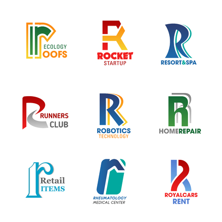 Business identity icons, letter R. Vector ecology roofs, rocket startup, resort and recreation. Runners sport club. Robotic technologies and repairs, retail and rheymatology medicine, car rent Illustration
