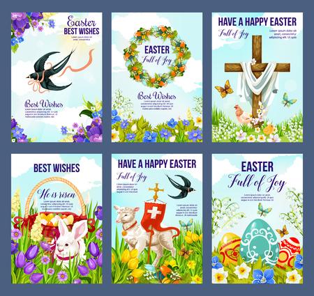 Felices tarjetas de felicitación de Pascua de huevos pascuales, crucifijo de Jesús y cordero con la bandera del cristianismo. Vector de carteles de vacaciones religiosas de conejito de Pascua, golondrinas y mariposas en flores