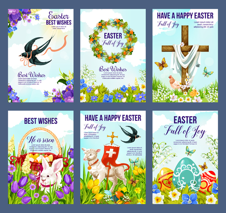 Happy Easter greeting cards of paschal eggs, Jesus crucifix cross and lamb with Christianity flag. Vector religious holiday posters of Easter bunny, swallow birds and butterflies in flowers