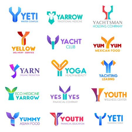 Corporate identity letter Y business icons. Vector recreation and medicine, sailing and delivery, food and health, sport and hobby. Ecology and finance, therapy and education, manufacture signs