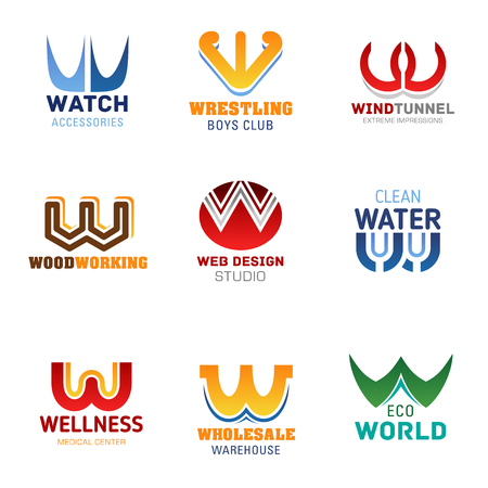 W icons and corporate identity letter font symbols. Vector W signs of watch shop, wrestling sport gym club and wind tunnel entertainment park, web design studio or wellness medical center and eco park