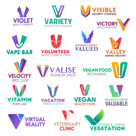 Corporate identity letter V business icons. Vector beauty and technology, security and health, bar and donation, insurance. Mining and bike, fashion and food, travel, finance and veterinary, gardening Vektoros illusztráció