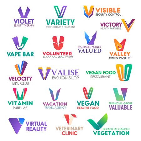 Iconos de negocios de la letra V de identidad corporativa. Vector de belleza y tecnología, seguridad y salud, barra y donación, seguro. Minería y bicicleta, moda y alimentación, viajes, finanzas y veterinaria, jardinería Ilustración de vector