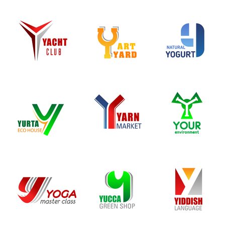 Y letter business identity icons and signs. Vector yacht club and yard art, natural yogurt and yurta eco house, yarn market, your environment, yoga classes, yucca green shop and yiddish language
