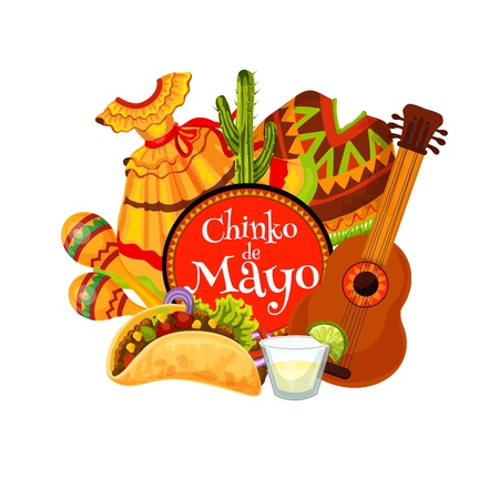 Cinco de Mayo fiesta party mariachi guitar, maracas and costumes vector greeting card. Mexican holiday tequila margarita, cactus and chilli tacos, Latin American music festival design