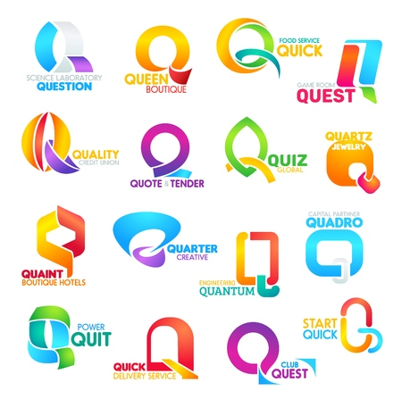 Corporate identity letter Q business icons. Vector science and fashion, food and gaming, credit and education, jewelry and recreation. Engineering and finance, power and delivery signs isolated