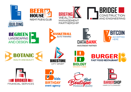 Corporate identity letter B business icons. Vector building and entertainment, management and engineering, landscaping, sport and finance. Digital money and botany, food, fashion and barbershop