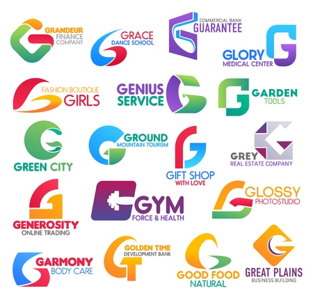 Corporate identity letter G business icons. Vector finance and hobby, banking and medicine, fashion and gardening, ecology, travel and shopping. Estate, trading and sport, photography and beauty, food