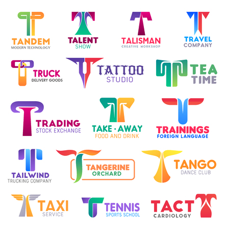 Corporate identity letter T business icons. Vector technology and entertainment, workshop and travel, delivery and beauty. Drink and finance, food, education and trucking, gardening and hobby, sport