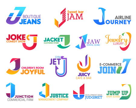 Corporate identity letter J business icons. Fashion and food, travel and entertainment, medicine and jewelry, sport and commerce, management and banking. Vector emblems, signs and symbols isolated