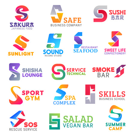 Corporate identity letter S business icons. Food and music, confectionery and recreation, technology and sport, beauty and education, safety and travel. Vector emblems, signs and symbols isolated
