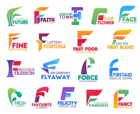 Corporate identity letter F business icons. Vector ecology and religion, furniture and floristry, beauty and art, gambling and food. Fashion and transportation, transport, medicine and market, camping