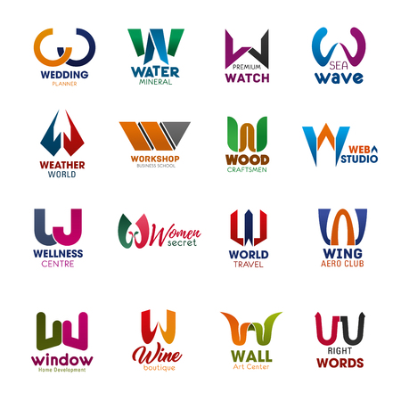Letter W icons for business design. Wedding and water, watch and wave, weather and workshop, wood and web, wellness and women, world and wing. Window and wine, wall and words badges vector isolated