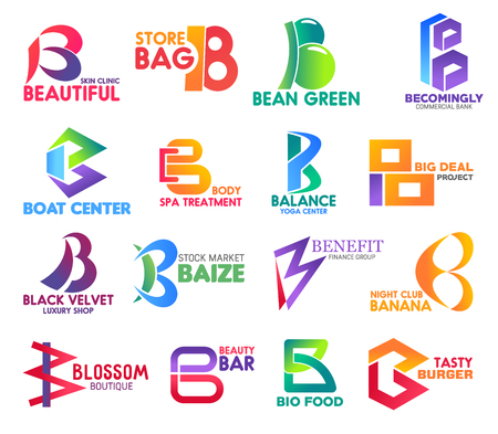 Corporate identity letter B business icons. Vector medicine and shopping, ecology and banking, travel and reacreation. Sport and stock, finance and entertainment, fashion and beauty, food isolated