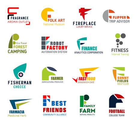 Corporate identity letter F business icons. Vector perfumery and art, recreation and travel, technology and finance, sport and fishing. Farming, food and agriculture, medicine, community and nutrition