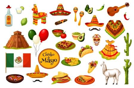 Cinco de Mayo Mexican holiday carnival icons, Mexico culture symbols. Vector Mexican flag, traditional Cinco de Mayo food burrito and quesadilla with avocado guacamole, poncho and sombrero
