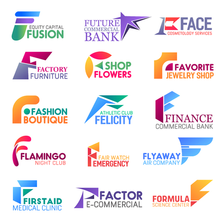 Corporate identity letter F business icons. Vector finance and beauty, furniture and floristry, jewelry and fashion, sport and banking,. Entertainment and security, transportation and medicine, scienc
