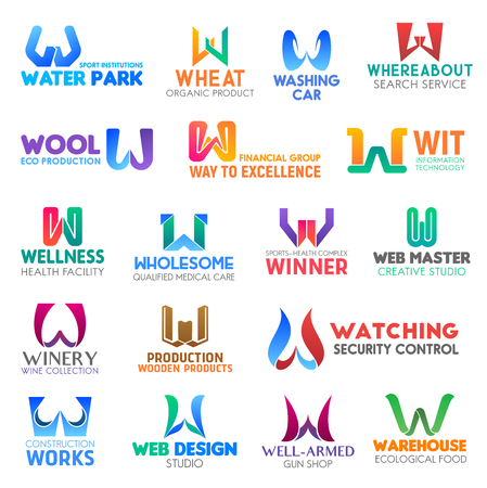 Corporate identity letter W business icons. Vector sport and nutrition, transport and search, ecology and finance, technology and health. Medicine and studio, drink and production, security and design