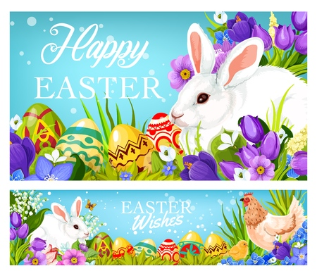 Happy Easter greetings and wishes on Christian religious holiday. Vector holy Easter celebration banners with bunny, paschal eggs, hen and chick in spring crocuses and tulip flowers Vettoriali