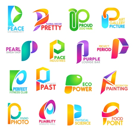 Letter P font icons, business corporate identity emblems. Vector P symbols of peace eco community, proud zoo, picture gallery or pearl jewelry shop and purple lounge bar and perfect fitness club Banque d'images - 116516721