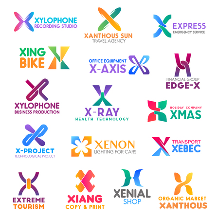 Corporate identity letter X business icons. Music and travel, aid and transport, equipment, finance and production, health, entertainment and technology, shopping. Vector emblems, signs and symbols