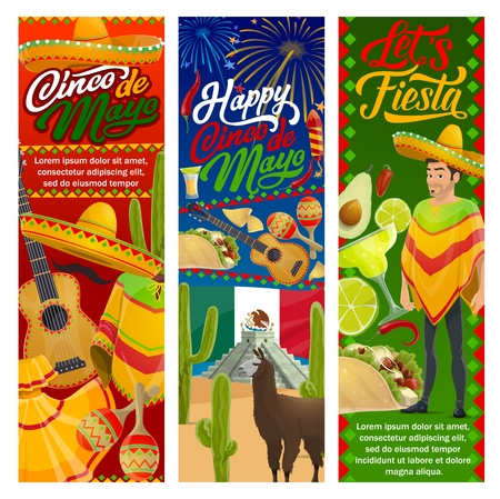 Cinco de Mayo fiesta party mariachi with sombrero and guitar vector design of Mexican holiday. Tequila margarita, cactus and chilli, tacos, nachos and avocado guacamole, flag of Mexico and fireworks Illustration