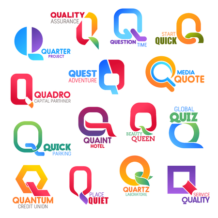 Corporate identity letter Q business icons. Assurance and sport, finance and travel, media and transport, recreation and beauty, banking and science. Vector emblems, signs and symbols isolated