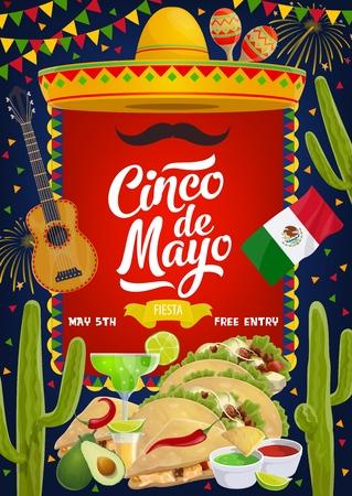Celebrazione della festa tradizionale messicana di Cinco de Mayo. Sombrero e baffi vettoriali, bandiera del Messico con fuochi d'artificio Cinco de Mayo e tacos di cibo, cocktail di margarita al lime e salsa guacamole di avocado