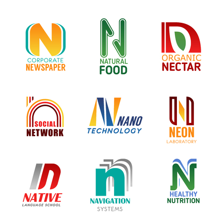 N letter icons for business. Newspaper and natural food, organic nectar and social network, nano technology and neon laboratory. Native language school and navigation systems, healthy nutrition vector