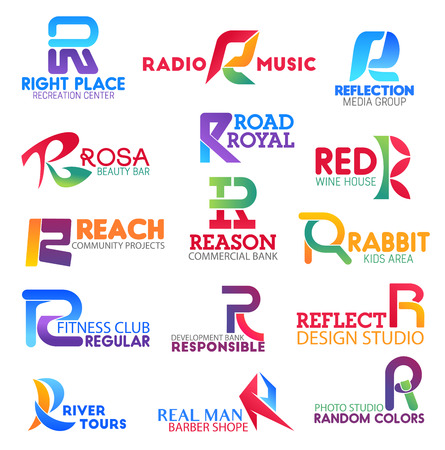 Corporate identity letter R business icons. Vector recreation and music, media and beauty, road and drink, community. Banking and entertainment, sport, design and tour, barbershop and photography