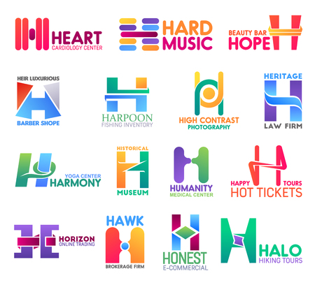 Corporate identity letter H business icons. Vector medicine and music, beauty and barbershop, fishing and photography. Jurisprudence and sport, culture and travel, trading and brokerage isolated