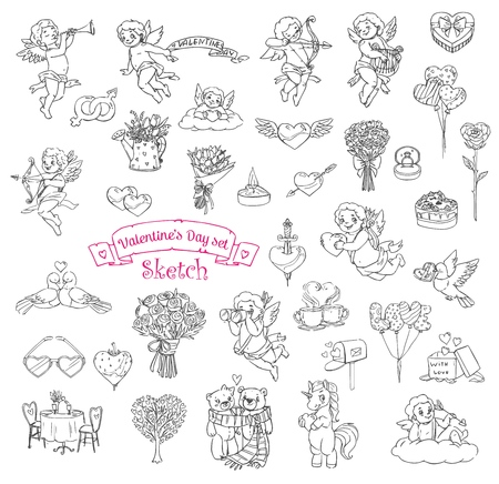Valentines Day sketch icons with vector symbols of romantic love holiday. Hearts, gifts and balloons, flowers, love letter envelope and chocolate, wedding ring, Cupids and couples of birds and bears