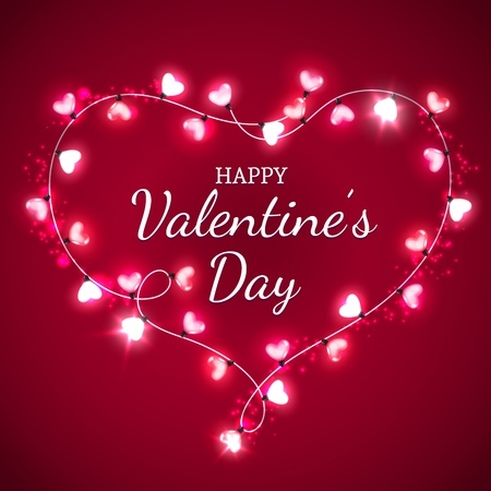 Happy Valentines Day vector greeting card with love heart of red lights. Heart, composed of pink light bulbs or glass lamps garland with glowing sparkles. Romantic love holiday celebration design