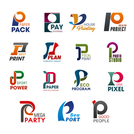 Letter P icons for business in abstract design. Pack and pay, painting and project, print and plan, point and photo, power and paper. Program and pixel, party and port, people creative badges vector
