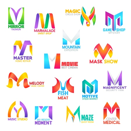 Corporate identity letter M business icons. Fashion and food, entertainment and gaming, repair and travel, music and stock, security and recreation, medicine. Vector emblems, signs or symbols Çizim