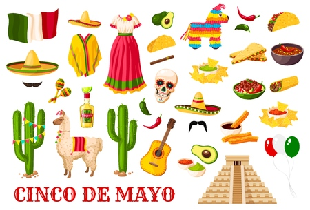 Cinco de Mayo celebration icons, Mexican holiday fiesta traditional symbols. Vector Mexico flag balloons, sombrero and poncho with Mexican cactus tequila, guitar and avocado, burrito and churros Illustration