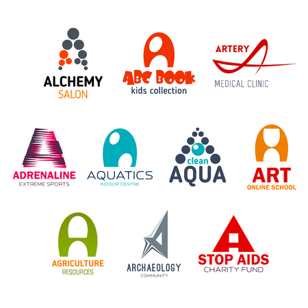 Corporate identity letter A business icons. Alchemy and children education, medicine and sport, entertainment and clean water, art and agriculture, science and charity. Vector emblems and name signs